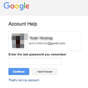 google account help form