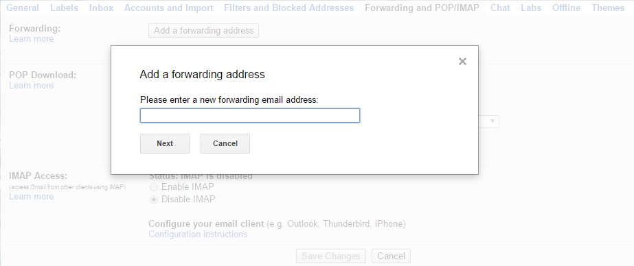 enter new forwarding email