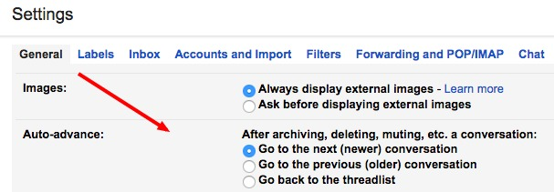 gmail auto advance