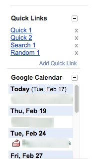 gmail quick links widget