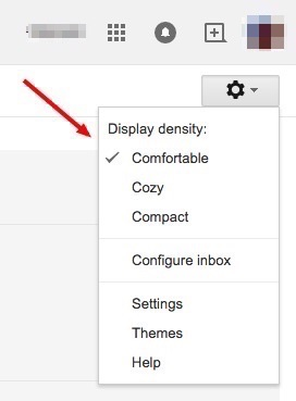 gmail settings display density