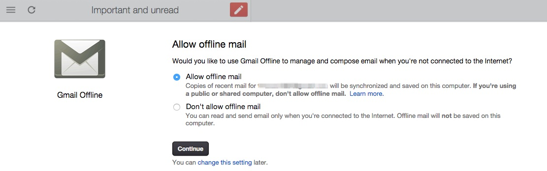 allow offline mail